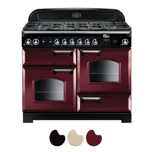 Falcon Classic 110cm Dual Fuel Range Cooker Cranberry And Chrome CLA110DFFCY CH