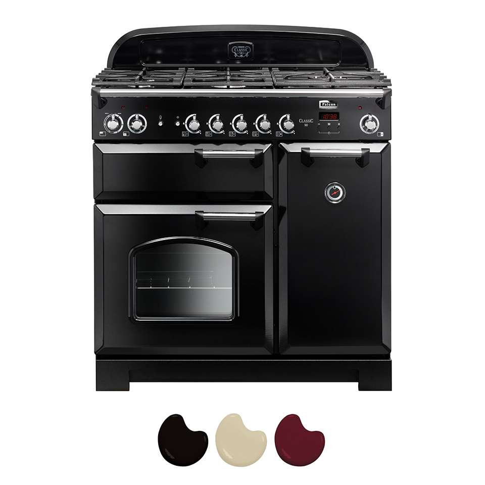 Falcon Classic 90cm Dual Fuel Range Cooker Black And Chrome CLA90DFFBL CH