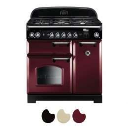 Falcon Classic 90cm Natural Gas Range Cooker Cranberry And Chrome CLA90NGFCY CH