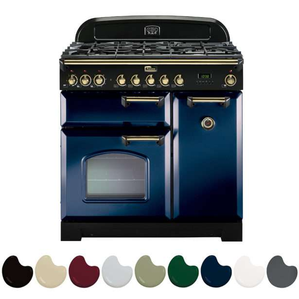 Falcon Classic Deluxe 90cm Dual Fuel Range Cooker Royal Blue And Brass CDL90DFRB BR