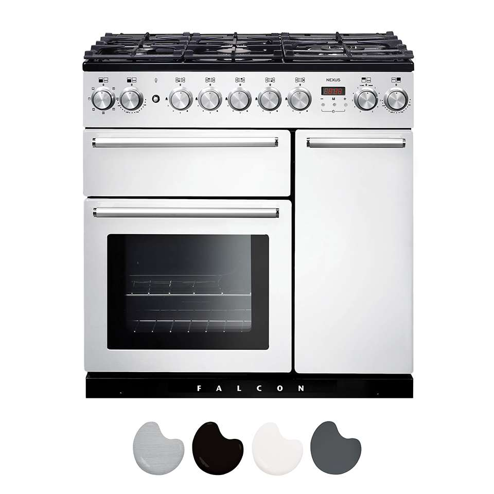 Falcon Nexus 90cm Dual Fuel Range Cooker White And Chrome NEX90DFWH CH