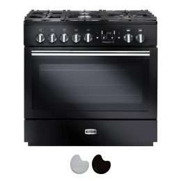 Falcon Professional FX 90cm Dual Fuel Range Cooker Black And Chrome PROP90FXDFGB CH