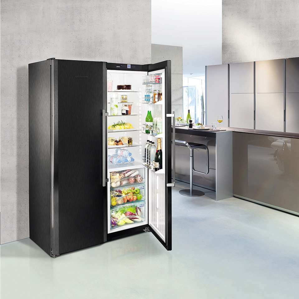 Liebherr Freestanding BlackSteel Side by Side Fridge SBSbs 7263