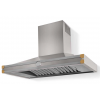 HS1IF21ET0 CornuFe 110 Rangehood Brushed Stainless Steel Polished Brass Corners and Stainless Steel Frame