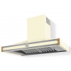 HS1VF21ET0 CornuFe 110 Rangehood Antique White Polished Brass Corners and Stainless Steel Frame