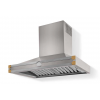 HS9IF21ET0 CornuFe Albertine 90 Rangehood Brushed Stainless Steel Polished Brass Corners and Stainless Steel Frame