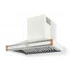 HS9WR21ET0 CornuFe Albertine 90 Rangehood Pure White Polished Copper Corners and Stainless Steel Frame